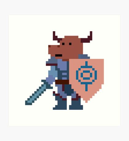 a minotaur mage hunter, with a giant heavy armour Art Print
