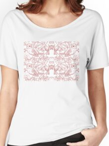 Blue Tit Toile de Jouy Inspired Red Women's Relaxed Fit T-Shirt