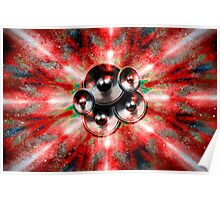 Music speakers and red lights Poster