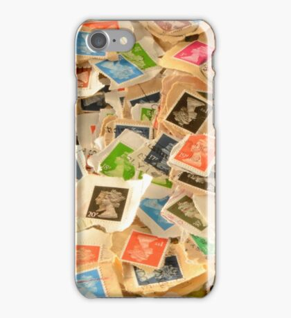 Old British Postage Stamps Background iPhone Case/Skin