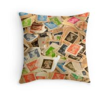 Old British Postage Stamps Background Throw Pillow