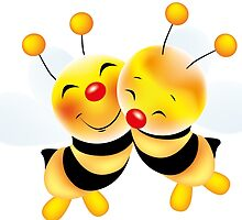 Cut-out of bees in love by schtroumpf2510