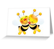 Cut-out of bees in love Greeting Card