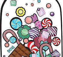 Jar with sweet candies by wunderigel