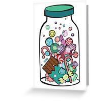 Jar with sweet candies Greeting Card