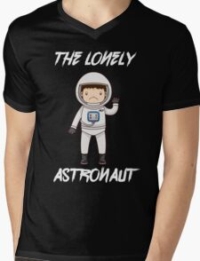 The Lonely Astronaut (White Text) Mens V-Neck T-Shirt