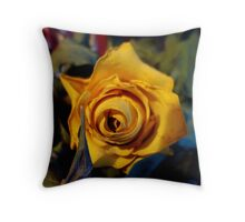 Dried Dead Yellow Rose Throw Pillow