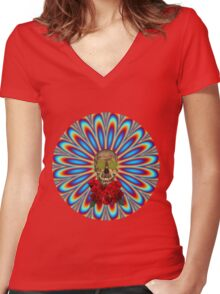 Psychedelic Skull and Roses - Grateful Dead Women's Fitted V-Neck T-Shirt