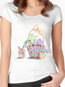 A basket of Easter Dragons Women's Fitted Scoop T-Shirt