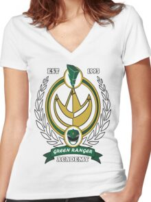 Green Ranger Academy Women's Fitted V-Neck T-Shirt