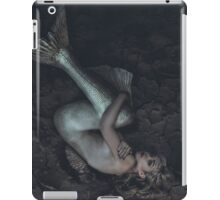 mermaid trapped in a sea of ​​mud, concept fantasy fish woman with beautiful blond hair and her body scales iPad Case/Skin