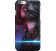 Fantasy, nude brunette woman with flowing hair and jacket with golden wings iPhone Case/Skin