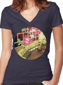 observe what's out there, Vintage Collage Women's Fitted V-Neck T-Shirt