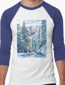 Winter Forest And Mountains Men's Baseball ¾ T-Shirt