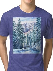 Winter Forest And Mountains Tri-blend T-Shirt