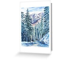 Winter Forest And Mountains Greeting Card
