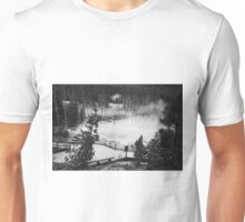 Black and White Geysers and Boardwalk  Unisex T-Shirt