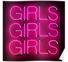 Neon Sign - Girls Girls Girls Poster