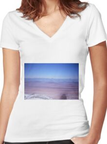 The Great Salt Lake   Women's Fitted V-Neck T-Shirt