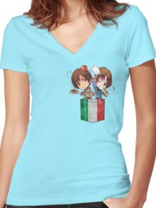 North and South Italy Pocket Chibi Women's Fitted V-Neck T-Shirt