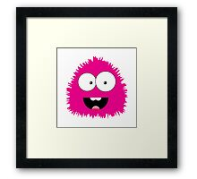 Funny cartoon pink monster Framed Print