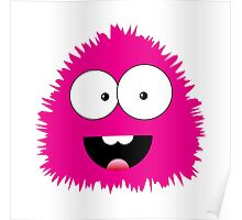 Funny cartoon pink monster Poster
