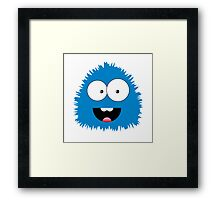 Funny cartoon blue monster Framed Print