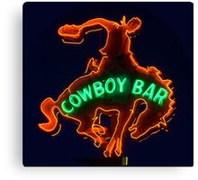 Neon Sign - Cowboy Bar Canvas Print