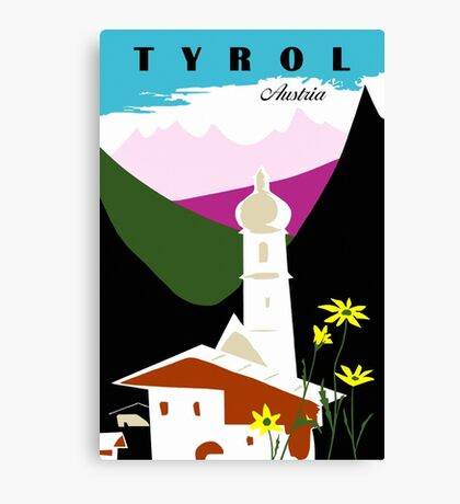 Retro vintage Tyrol Austria travel advertising Canvas Print