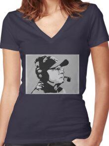 Tom Coughlin Portrait Women's Fitted V-Neck T-Shirt