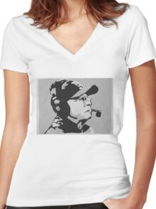 Tom Coughlin Portrait Women's Fitted V-Neck T-Shirt