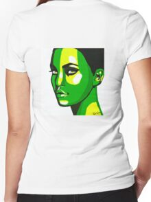 Green Face Women's Fitted V-Neck T-Shirt