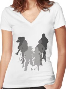 Tales of the Abyss cast silhouette Women's Fitted V-Neck T-Shirt