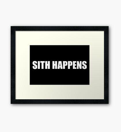 Sith Happens in white Framed Print