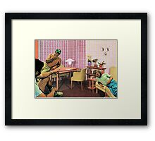 Hanging out at Paul's place, Vintage Collage Framed Print
