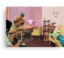 Hanging out at Paul's place, Vintage Collage Canvas Print