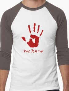 We Know Letter (Red) - The Dark Brotherhood Men's Baseball ¾ T-Shirt