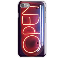 Neon Sign - Open iPhone Case/Skin