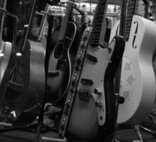 Guitars. Bleecker Street. B&W Sticker
