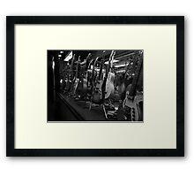 Guitars. Bleecker Street. B&W Framed Print