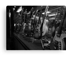 Guitars. Bleecker Street. B&W Canvas Print
