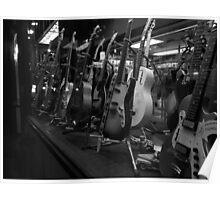 Guitars. Bleecker Street. B&W Poster