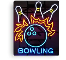 Neon Sign - Bowling Canvas Print