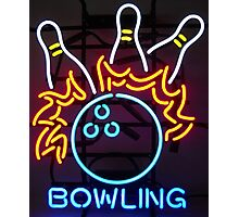 Neon Sign - Bowling Photographic Print