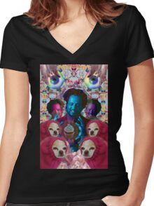 giorgio tsoukalos and his worm doggos Women's Fitted V-Neck T-Shirt