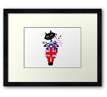 British Union Jack Retro Scooter And Cute Cats Framed Print