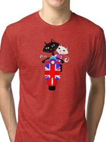 British Union Jack Retro Scooter And Cute Cats Tri-blend T-Shirt