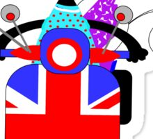 British Union Jack Retro Scooter And Cute Cats Sticker