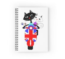 British Union Jack Retro Scooter And Cute Cats Spiral Notebook