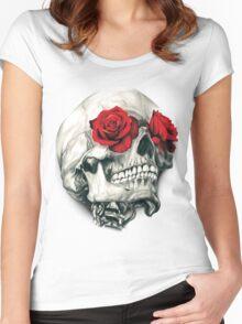 Rose Eye Skull Women's Fitted Scoop T-Shirt